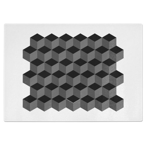 Squares Tempered Glass Chopping Board - White